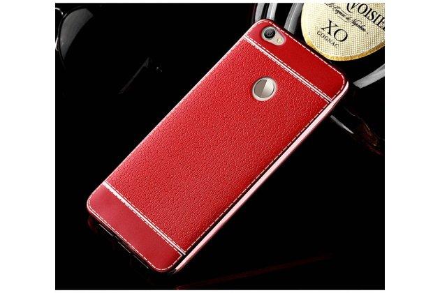 Премиальная элитная крышка-накладка на zte nubia n1 красная из качественного силикона с дизайном под кожу