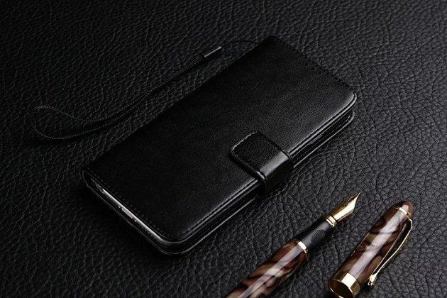 Премиальный  чехол-книжка из качественной импортной кожи с подставкой застёжкой и визитницей для zte nubia n1 черный