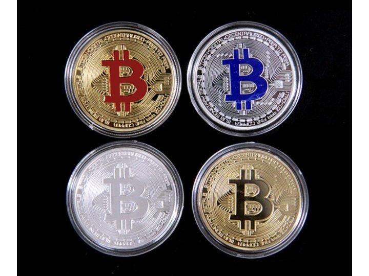 Подарочный полный набор коллекционных сувенирных монет bitcoin всех цветов...