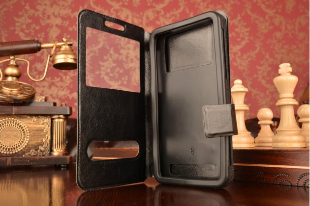 Чехол-футляр для zte nubia m2 с двумя окошками для входящих вызовов и свайпом из импортной кожи с внутренним защитным силиконовым бампером. цвет в ассортименте.
