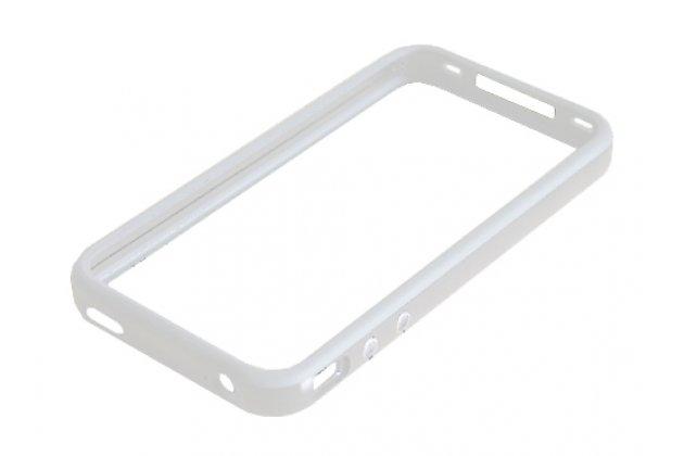 Чехол-бампер для apple iphone 4/4s серебристый силиконовый