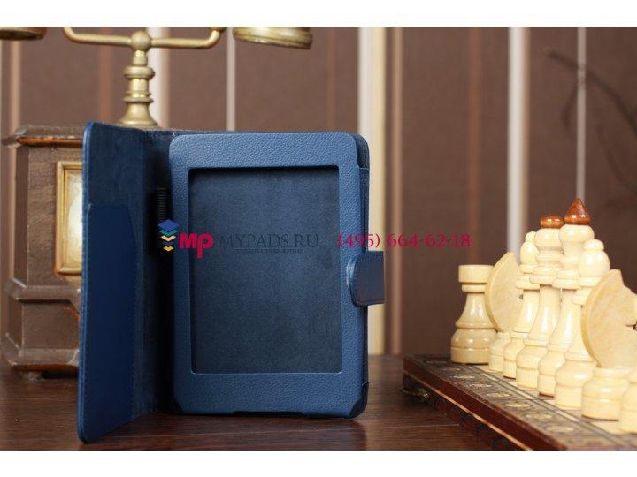 Чехол для amazon kindle paperwhite синий кожаный..