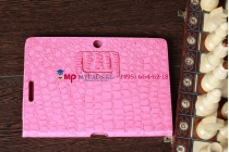 Фирменный чехол для Asus Transformer Pad TF300TG/TF300TL кожа крокодила розовый