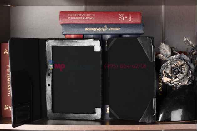 Чехол для asus transformer pad infinity tf700 с док-станцией черный кожаный