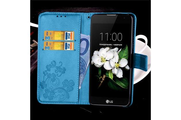 Роскошный чехол-книжка безумно красивый декорированный узором цветов на lg leon h324 черный