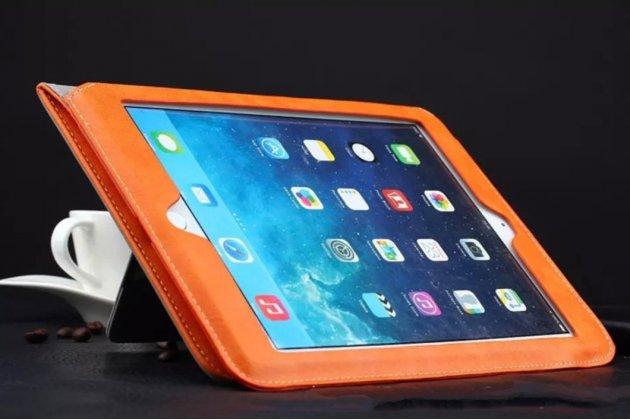 Премиальный чехол бизнес класса для ipad mini 1/2/3 с визитницей из качественной импортной кожи оранжевый