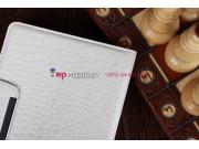 Лаковая блестящая кожа под крокодила чехол-обложка для iPad Mini белый..
