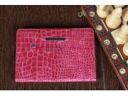 Лаковая блестящая кожа под крокодила чехол-обложка для iPad Mini малиновый..