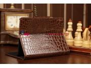 Фирменный чехол-футляр для iPad Mini лаковая кожа крокодила шоколадный коричневый..