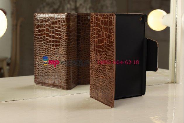 Чехол-футляр для ipad mini лаковая кожа крокодила шоколадный коричневый