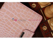 Лаковая блестящая кожа под крокодила чехол-футляр для iPad Mini нежный розовый..