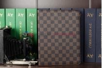 Чехол-обложка для ipad 2/3/4 new в клетку коричневый кожаный