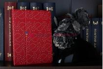 Чехол-обложка для ipad2/3/4 со стразами красный кожаный