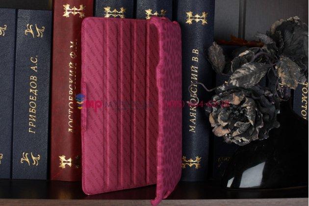 Чехол-обложка для ipad 2/3/4 леопардовый розовый кожаный