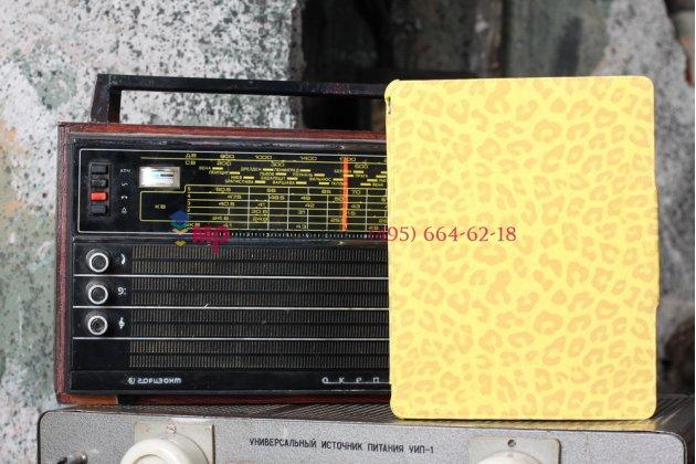 Чехол-обложка для ipad 2/3/4 леопардовый желтый кожаный