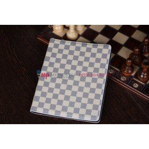 Чехол-обложка для ipad 2/3/4 new в клетку белый кожаный