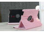 Фирменный чехол-обложка для iPad2/new iPad 3/iPad 4 роторный оборотный поворотный кожа крокодила розовый..