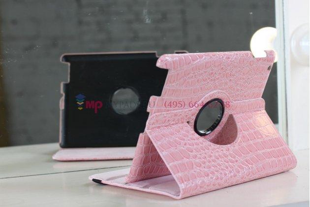 Чехол-обложка для ipad2/new ipad 3/ipad 4 роторный оборотный поворотный кожа крокодила розовый