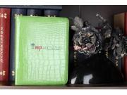 Фирменный чехол-обложка для iPad2/new iPad 3/iPad 4 роторный поворотный оборотный кожа крокодила зеленый..
