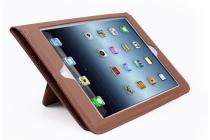 Премиальный чехол бизнес класса для apple ipad 2/3/4 с визитницей из качественной импортной кожи коричневый