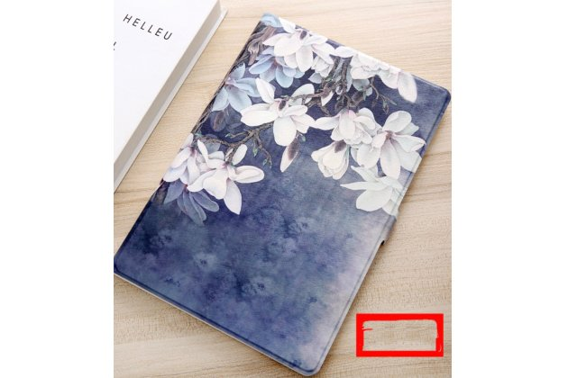 "Чехол для samsung galaxy note 10.1 n8000 тематика ""белые цветы"" кожаный синий"