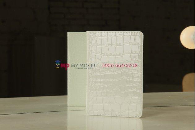 Чехол для samsung 7.7 p6800 кожа крокодила белый